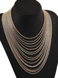 gold statement necklace jewelry images Gold multi chain statement necklace modern jewelry jpg