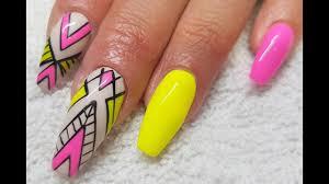 acrylic infill l gel polish neon abstract l nail design youtube