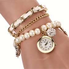 pearl bracelet watches images Skylofts casual pearl bracelet white color watch for women jpg