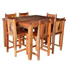 barnwood gathering table u0026 chairs with tree carvings u0026 nailheads