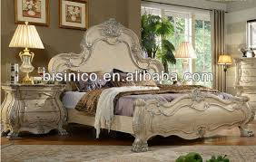 romatic cream color rose solid wood carved bedroom furniture set