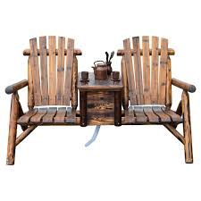amazon com outsunny wooden outdoor two seat adirondack patio