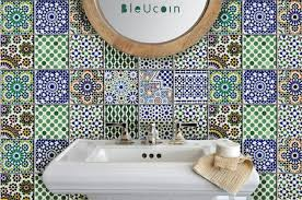 tile wall decal kitchen bathroom moroccan bleucoin lentine