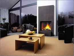 contemporary family room with wooden table benches also black wall