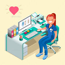 Nurse Or Female Doctor Cartoon Isometric People By Aurielaki