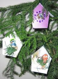 Old Christmas Cards Crafts - recycled christmas card bird houses