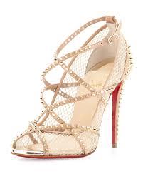 christian louboutin alarc spike crisscross red sole sandal in