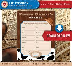 baby shower cowboy baby shower games finish daddy u0027s phrase lil cowboy