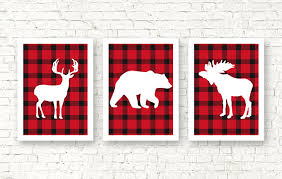 rustic home decor red plaid nursery wall art forest animals