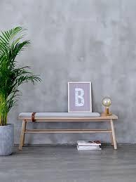 Esszimmer Bank Polster Moderne Design Holzbank Eiche M Polster U Lederriemen Seatings
