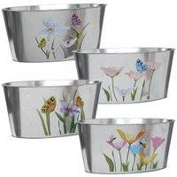 garden planters 8 7 8 4 x4 u2033 oval shaped floral galvanized metal