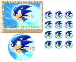 sonic the hedgehog cake topper sonic the hedgehog running edible cake topper image frosting sheet