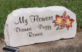 engraved stones engraved my flowers garden