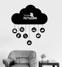 Wall Sticker Warehouse Vinyl Wall Decal Cloud Social Network Computer Technology It