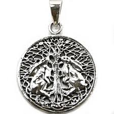 wiccan hares tree of silver pendant p037