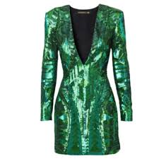 balmain balmain h u0026m green sequin cocktail mini dress us 4 from