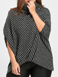 2018 asymmetrical striped plus size poncho sweater black one size in