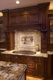 kitchen backsplash ideas hood above electric stove golden brick