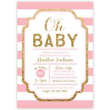 pink and gold baby shower invites marialonghi