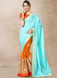 aqua blue and orange hand work work bhagalpuri silk designer half n