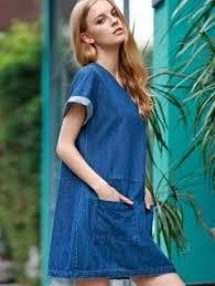 hemming double pockets round neck short sleeve denim dress blue