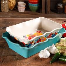 oven to table bakeware sets the pioneer woman flea market 2 piece decorated rectangular ruffle