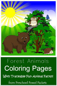 free forest animals coloring pages with traceable fun facts
