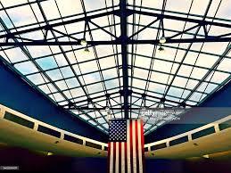 Philadelphia Flag American Flag Hanging From Ceiling Of Philadelphia International