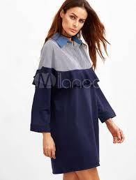 burgundy shift dress women u0027s v neck long sleeve stripes contrast