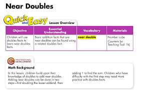 doubles fact geary schools math objectives