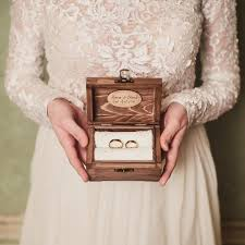 Wedding Ring Holder by Personalized Wedding Ring Box Rustic Wooden Ring Box Rustic Ring