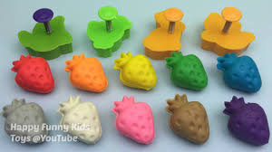 play and learn colours with play dough strawberry with molds fun
