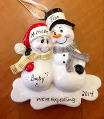personalized we u0027re expecting snowman couple ornament ornament
