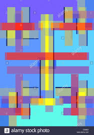 Shaeds Of Red by Geometric Composition Using Only Squares And Rectangles In Shades