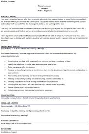 Sample Resume Of Secretary Medical Secretary Cv Example U2013 Cover Letters And Cv Examples