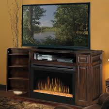 furniture dark brown stained wooden electric fireplace