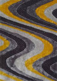 3 piece set elegant vibrant grey with yellow shag rug rug