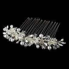 hair broach versatile silver white pearl swarovski hair comb 8839