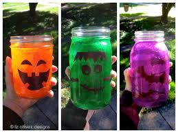 Mason Jar Halloween Lantern Diy Halloween Craft Upcycled Glass Jars Liz Ohsiek Designs