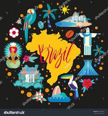 vector illustration brazil map symbols travel stock vector