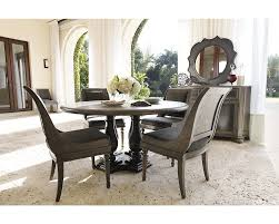 bernhardt belgian oak 5pc round dining room set with sleigh back
