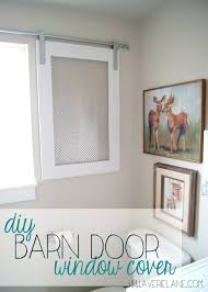 project kid u0027s bathroom diy barn door window cover for the
