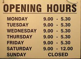 usability text alignment for display of business opening hours