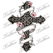 marketplace tattoo gothic and floral celtic cross 1751