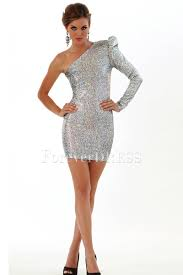 sleeve but one shoulder sheath beaded tight mini cocktail dress