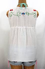 white sleeveless blouse la sirena sleeveless blouse white embroidery