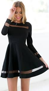 semi formal dress skater sleeves mesh panel flare casual dress club