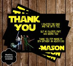 wars thank you cards novel concept designs wars birthday party thank you