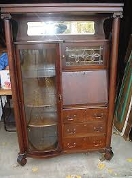 Antique Wooden Secretary Desk Antique Secretary Desk With Curved Glass Curio Cabinet Door