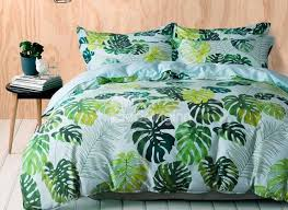 Brocade Duvet Cover Designer 60s Brocade Fresh Tropical Green Leaves Print Egyptian